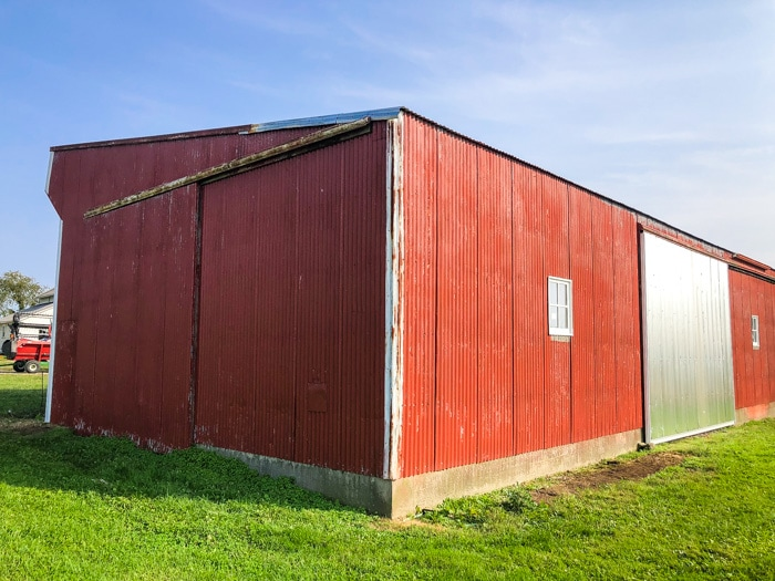 side of new barn