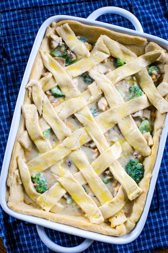 crescent lattice on pie filling in baking pan
