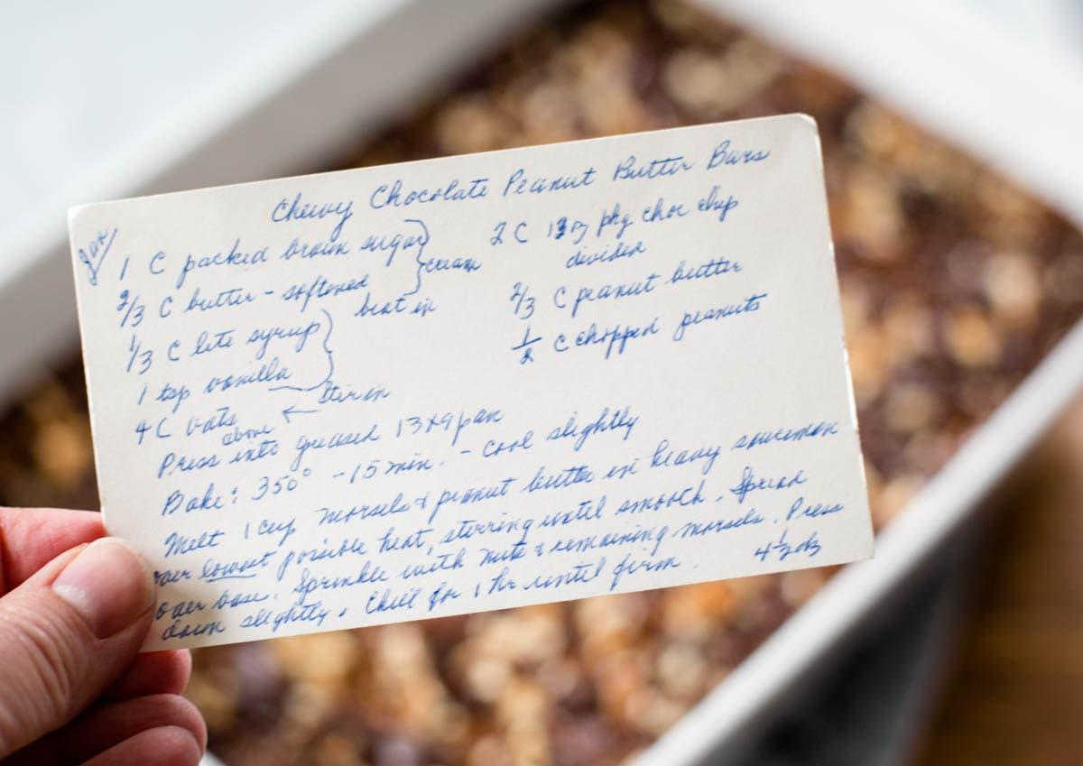 vintage recipe card for peanut bars
