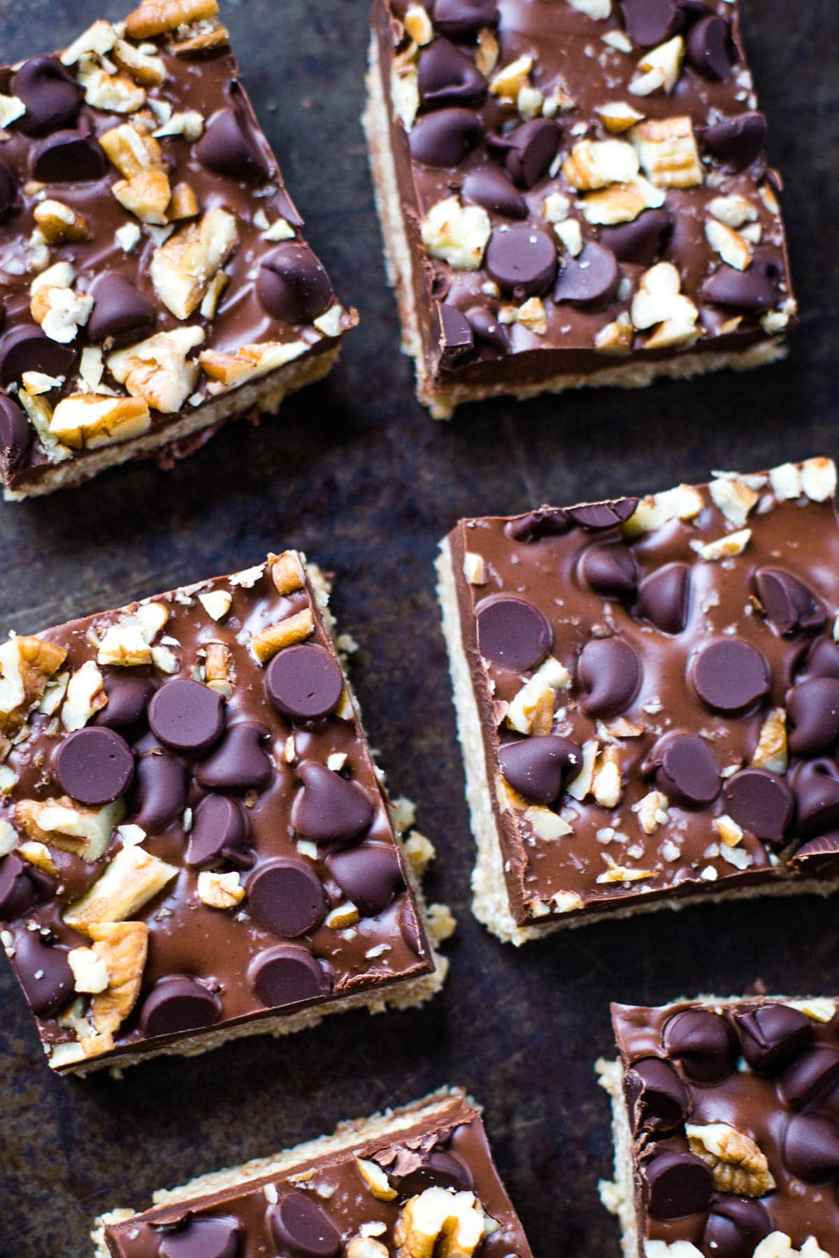 top of peanut butter bars