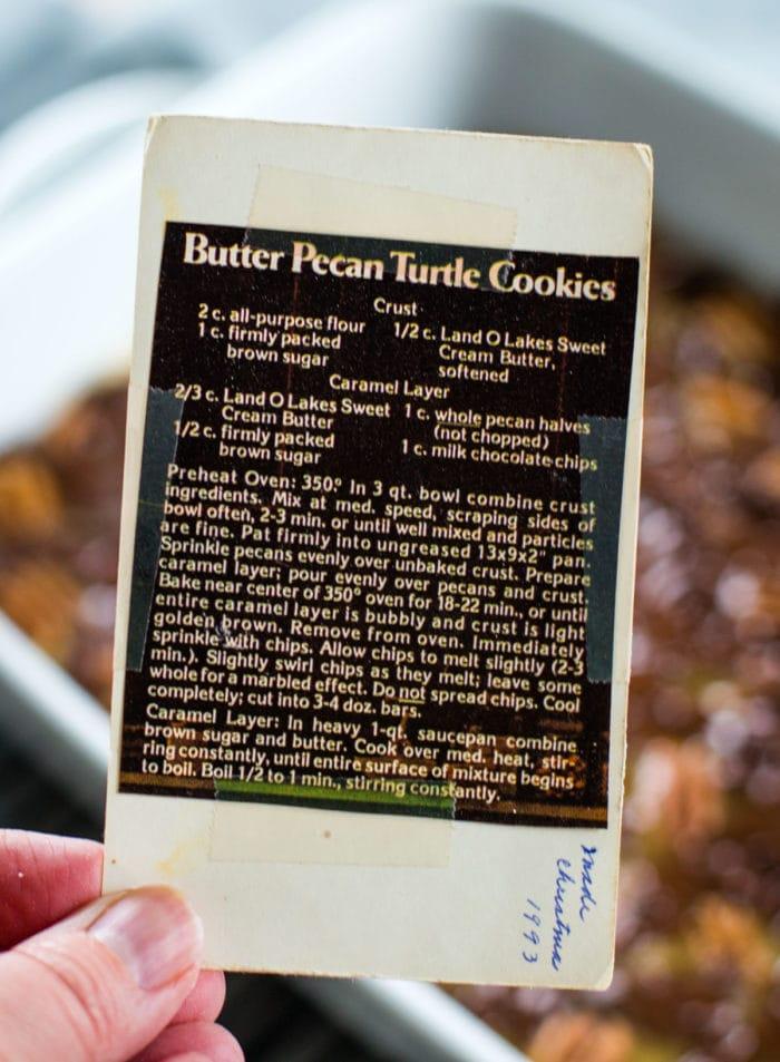 turtle cookie bars vintage recipe card
