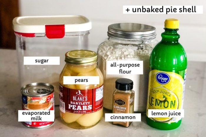 ingredients for custard pear pie