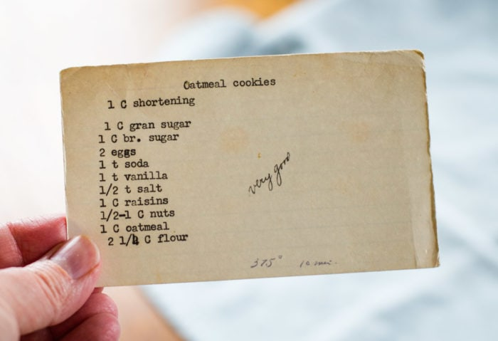 vintage recipe for oatmeal cookies