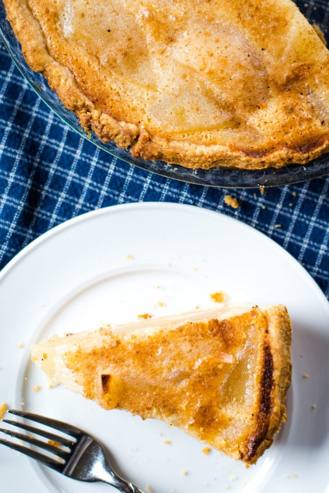 slice of pear pie on plate