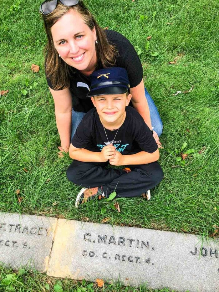 mom and son at Gettysburg Grave