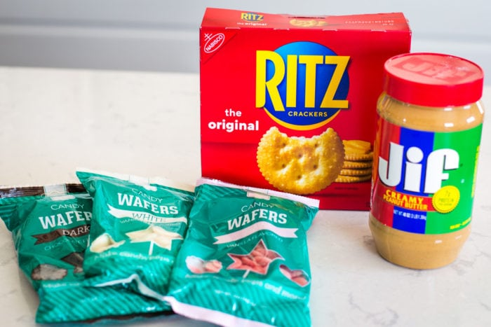 ingredients of crackers, candy wafers and peanut butter