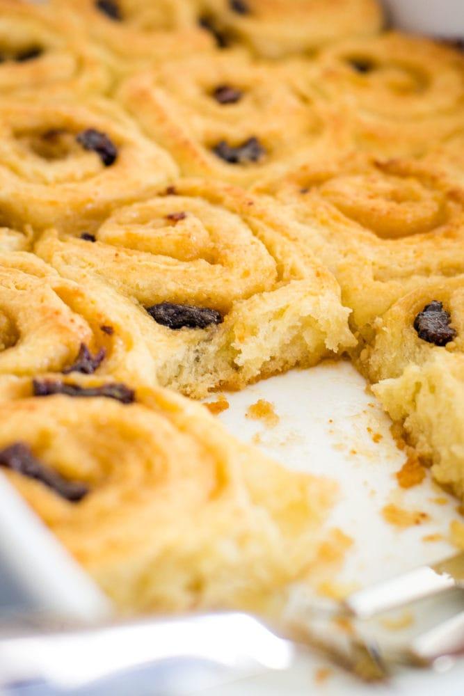 close up of danish pastry in baking pan