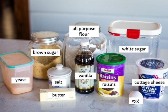 ingredients for danish pastry recipe on countertop