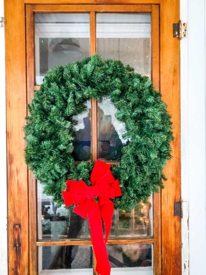 christmas wreath on door