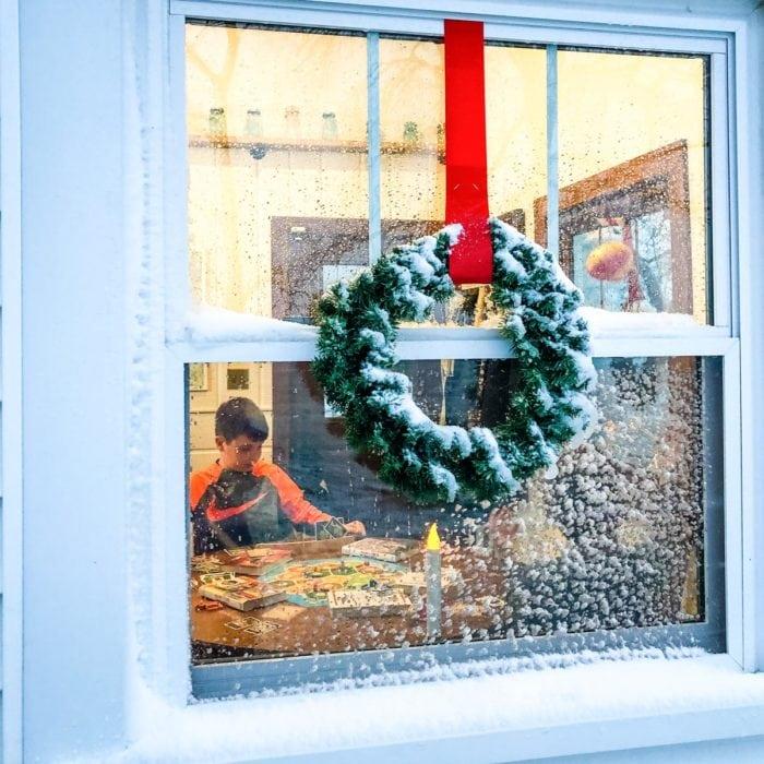 wreath on window