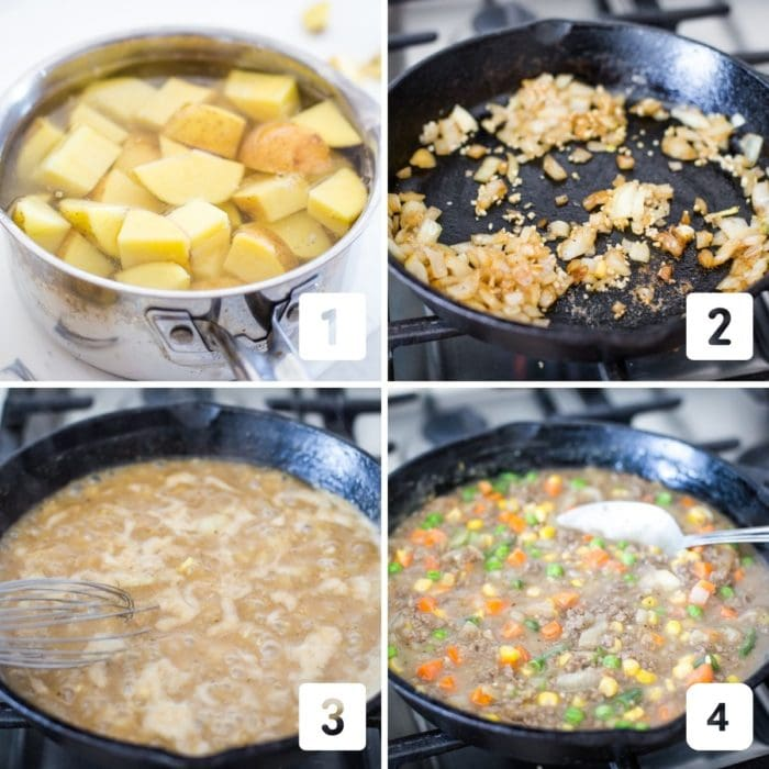step by step photo of making shepards pie