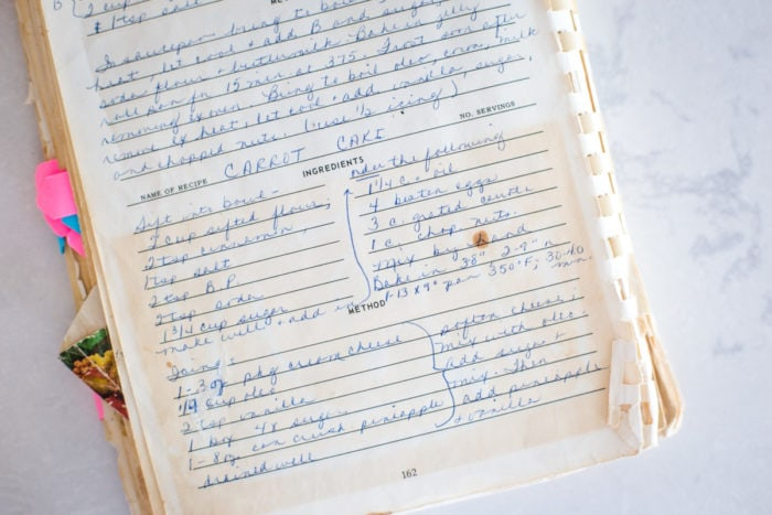 old recipe for carrot cake