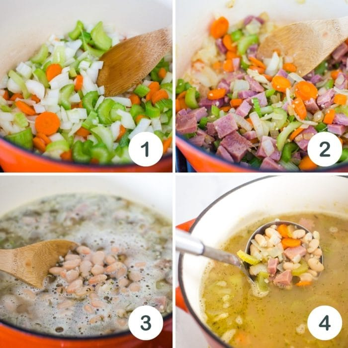 step by step photo of making ham and bean soup