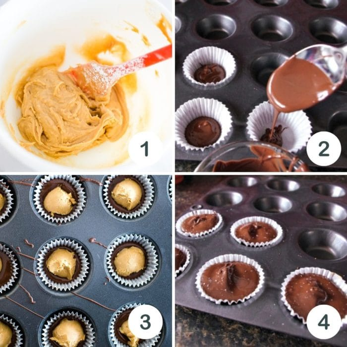 step by step on how to make peanut butter cups