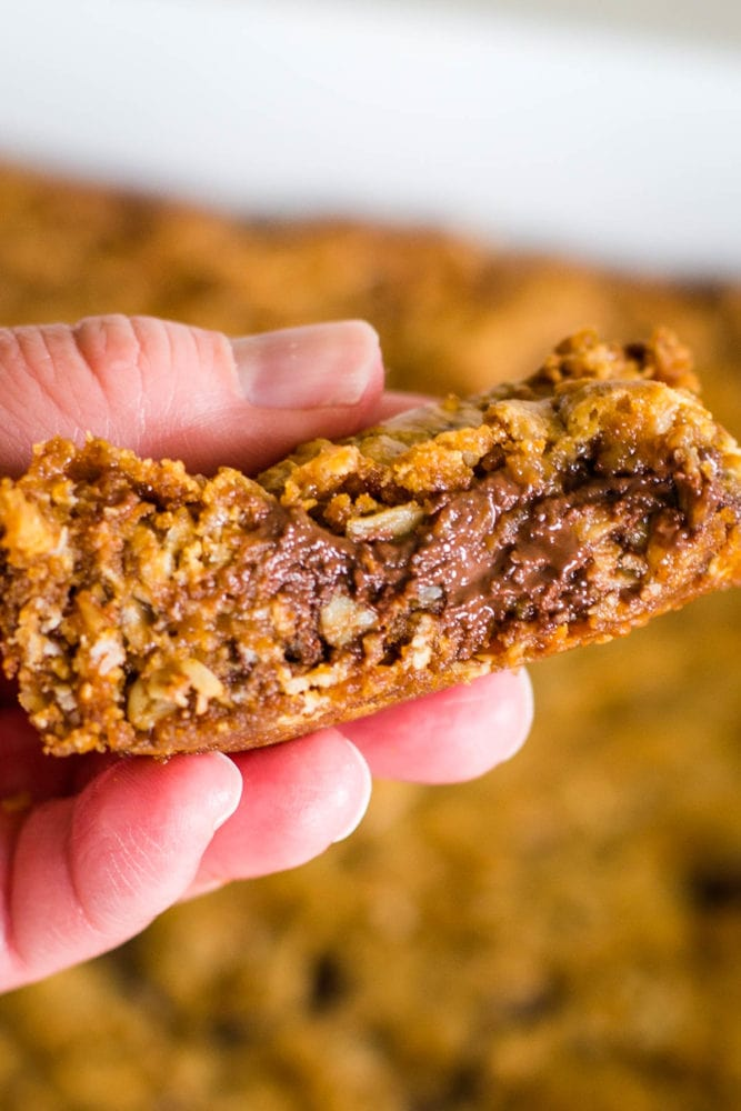 side view of oatmeal bars