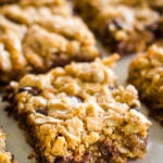 peanut butter oatmeal bars cut into squares