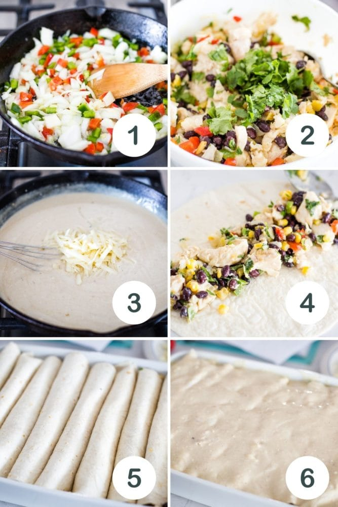 step by step pictures on how to make sauce, filling and assemble recipe