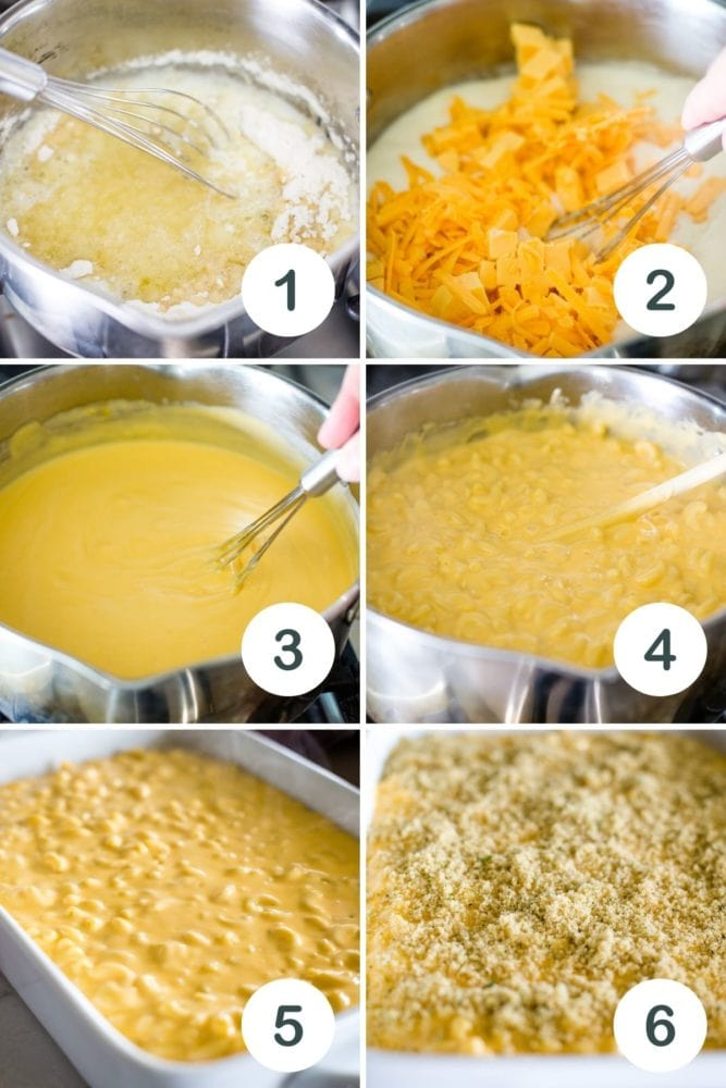 six pictures of steps to make mac and cheese