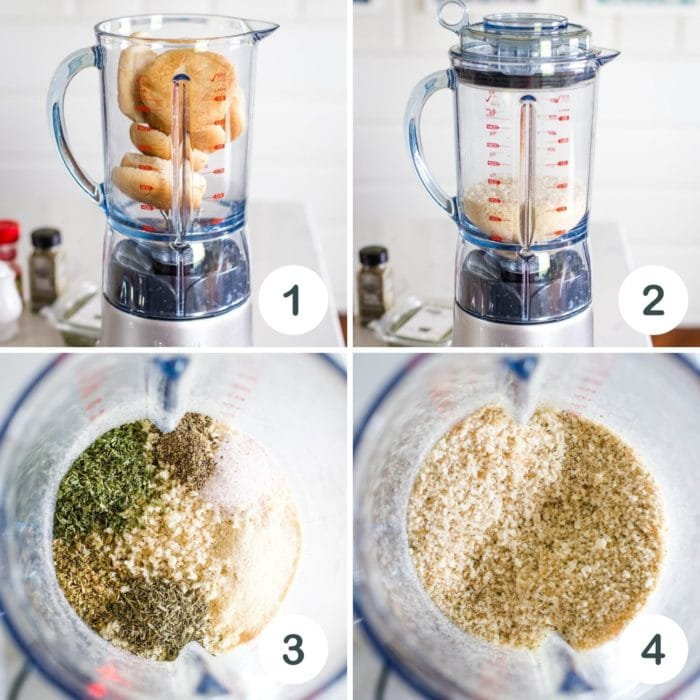 stale bread in blender, made into crumbs and then seasonings added