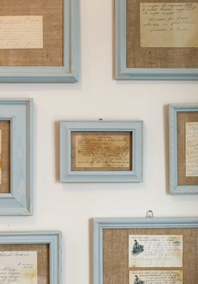 framed recipe cards on wall
