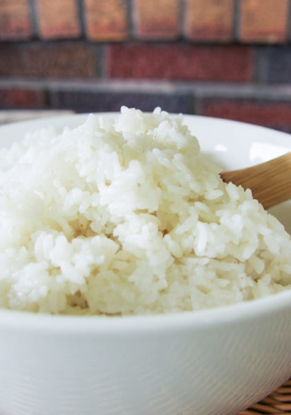 instant pot rice in a bowl with spoon